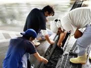 浜松市 大学駐車場の側溝清掃